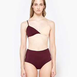 BNWT Solid + Striped Brigitte Bikini Top Bordeaux